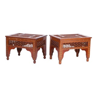 Antique Inlaid Syrian Stands - a Pair For Sale