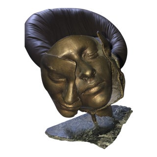 Vintage Bronze Face Sculpture on a Marble Stand For Sale