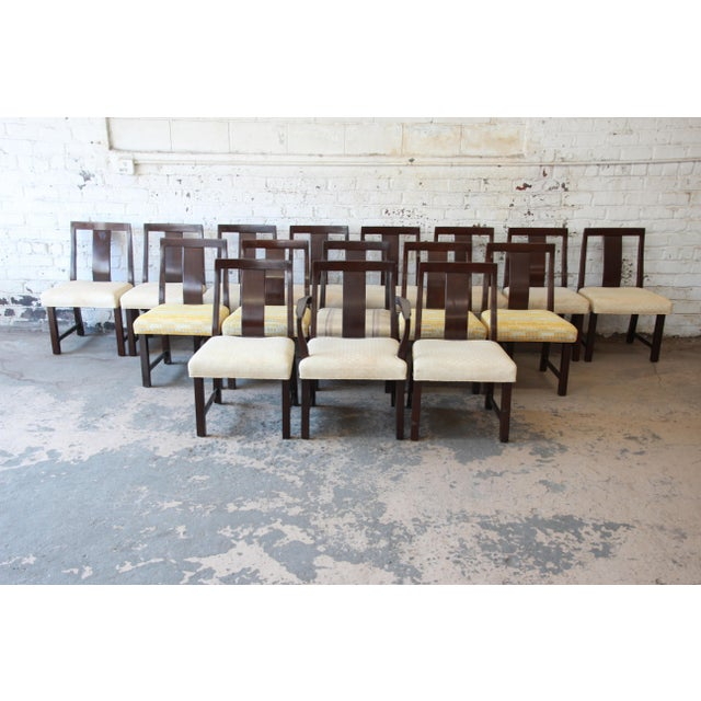 An outstanding set of sixteen mid-century modern dining chairs designed by Edward Wormley for Dunbar Furniture. The set...