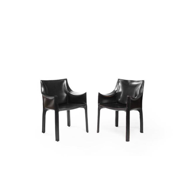 1970s Vintage Black Cassina Chairs - a Pair For Sale - Image 5 of 5