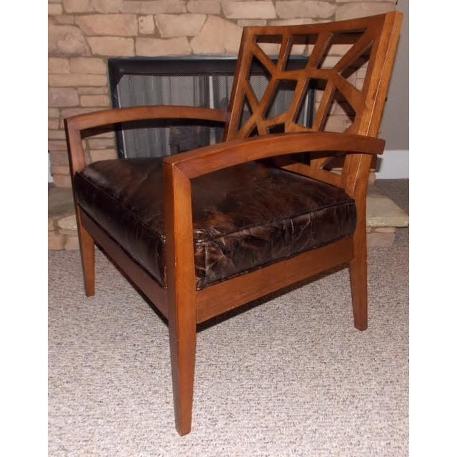 1970s Art Deco Illusion Leather Armchair For Sale - Image 5 of 5