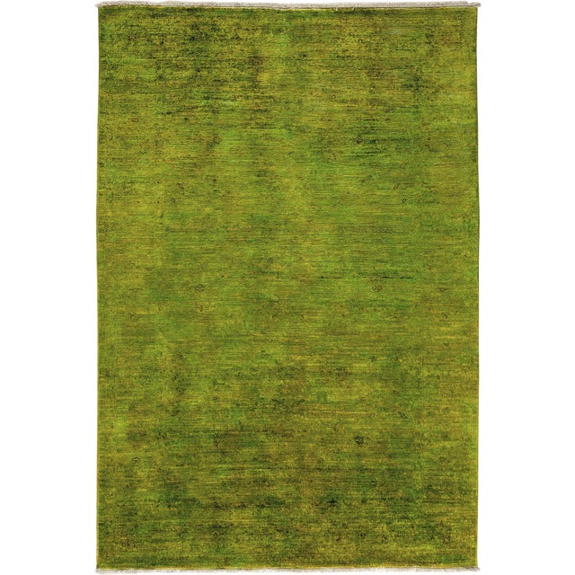 """Green Over Dyed Hand Knotted Rug- 5' 8"""" x 8' 4"""" For Sale"""