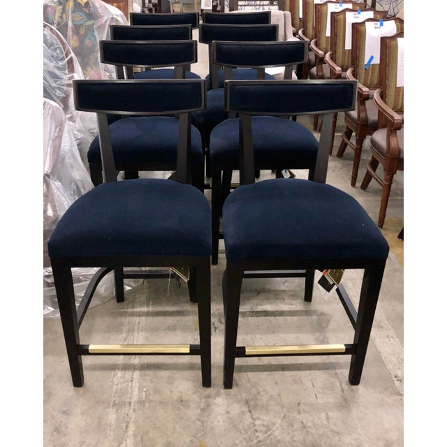 Contemporary Fairfield Blue Velvet Counter Stool For Sale - Image 3 of 6