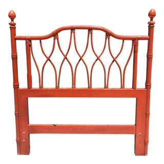 Orange Red Bamboo Rattan Lattice Twin Headboard