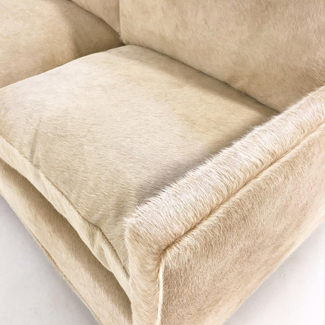 1950s Forsyth One of a Kind Milo Baughman for Thayer Coggin Loveseat Sofa in Palomino Brazilian Cowhide For Sale - Image 5 of 11