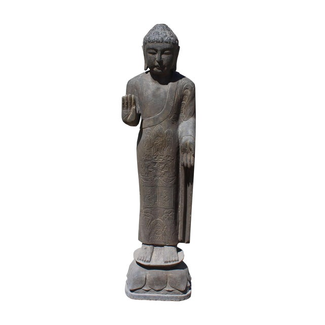 2010s Chinese Gray Stone Carved Standing Abhaya Mudra Buddha Statue For Sale - Image 5 of 7