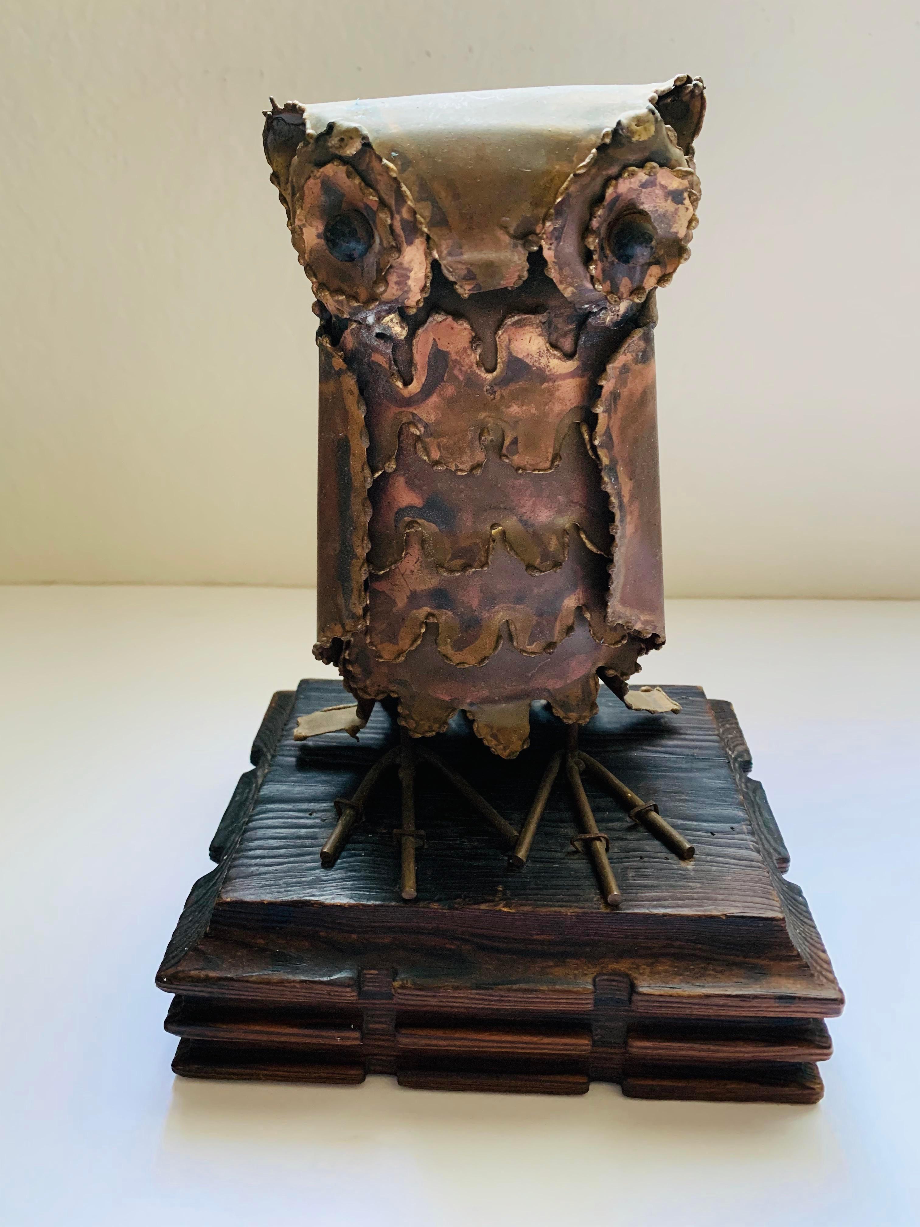 Vintage modern brutalist metal owl sculpture.