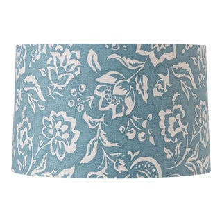 Large Madcap Cottage Blockprint Floral Fabric Lamp Shade For Sale