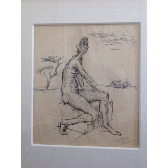 Ernst Stolz Charcoal Drawing For Sale In San Francisco - Image 6 of 8