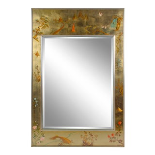 Labarge Chinoiserie Hand-Painted Églomisé Mirror For Sale