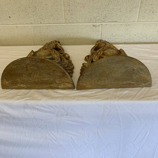 Carved Gilt Wood Wall Brackets -Pair For Sale - Image 11 of 12