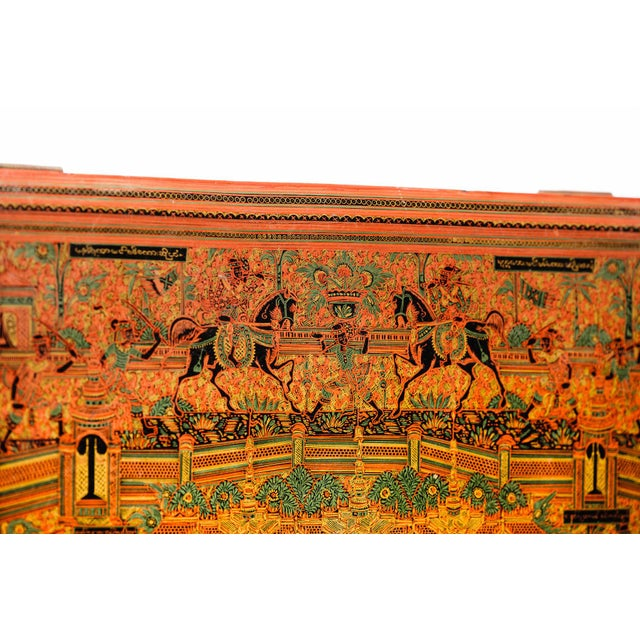 Asian Antique Extra Large Hand-Painted Red Burmese Lacquered Box For Sale - Image 9 of 11