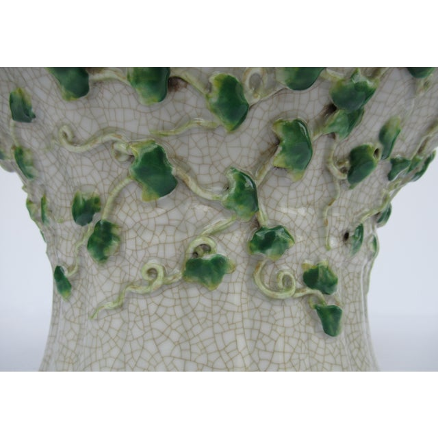 Vintage Ceramic Crackle Center Bowl With Adorned English Ivy by United Wilson/Hong Kong For Sale In West Palm - Image 6 of 13