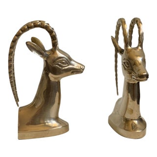 Mid 20th Century Mid-Century Modern Brass Antelope Head Bookends - a Pair For Sale
