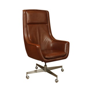 Florence Knoll Mid Century Modern Chrome Base Brown Leather Executive Desk Chair For Sale