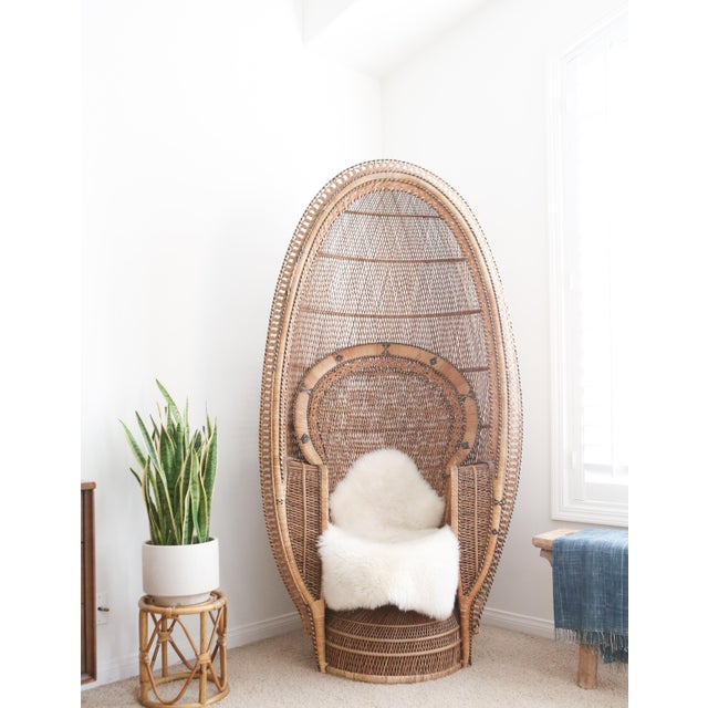 Boho Chic Vintage Rattan and Wicker Peacock Chair For Sale - Image 3 of 10