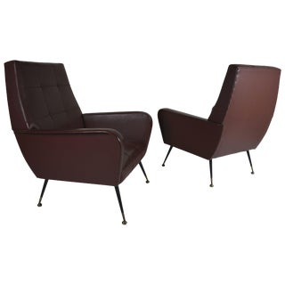 Pair of Masculine Italian Armchairs, Circa 1960s For Sale