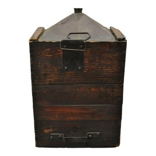 Antique Export Tin Metal Transport 5 Gallon Canister For Sale