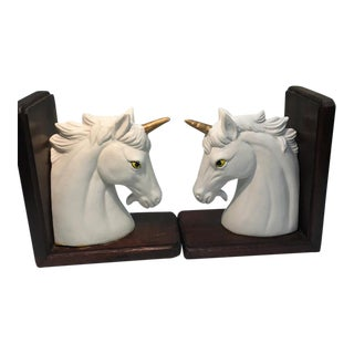 1970s Vintage Unicorn Bookends - a Pair For Sale