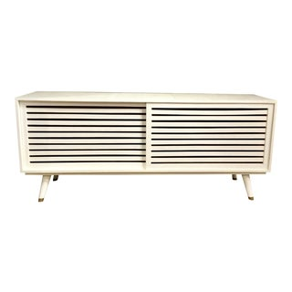 Made Goods Mid-Century Modern Style White Raffia Finished Adali Console Table For Sale