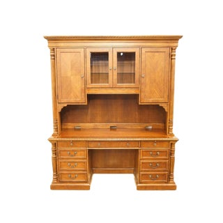 "Hekman Mahogany Mahogany 73"" Computer Desk With Storage Credenza For Sale"