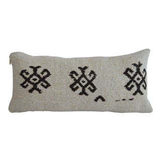 Minimal Kilim Lumbar Pillow Cover. Natural Pure Hemp Sham - 13ʺ X 26ʺ For Sale