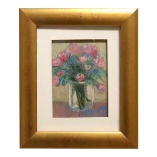 Oil Pastel Floral Bouquet Art For Sale
