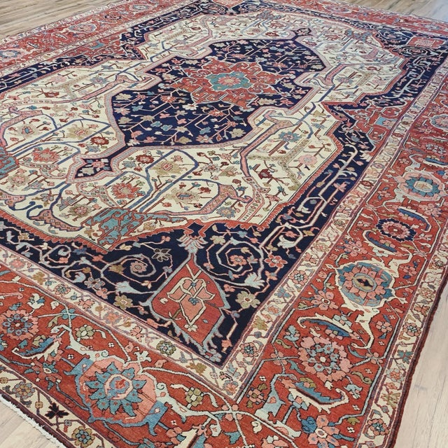 Traditional Antique Persian Serapi Heriz Rug- 10′8″ × 16′ For Sale - Image 3 of 11