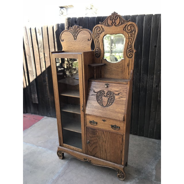 Traditional Antique Secretary Writing Desk Cabinet For Sale - Image 3 of 7