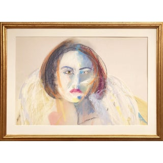Glamorous Vintage Expressionist Pastel Portrait of a Woman by Gerard Haggerty For Sale