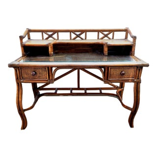 Scorched Bamboo Rattan & Wicker Campaign 2 Pc Boho Chic Writing Desk For Sale
