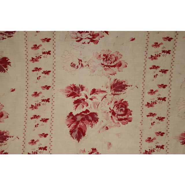 A gorgeous vintage French bed curtain dating c 1900! This fabric has the most wonderful faded floral pattern! lovely light...