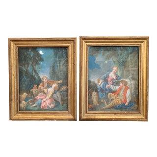 Pair of 18th Century Louis XVI Watercolors in Original Giltwood Frames For Sale