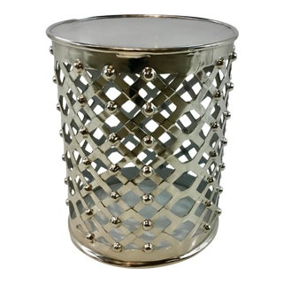 Modern Cyan Design Lattice Rivet Nickel Finished Alden Side Table For Sale