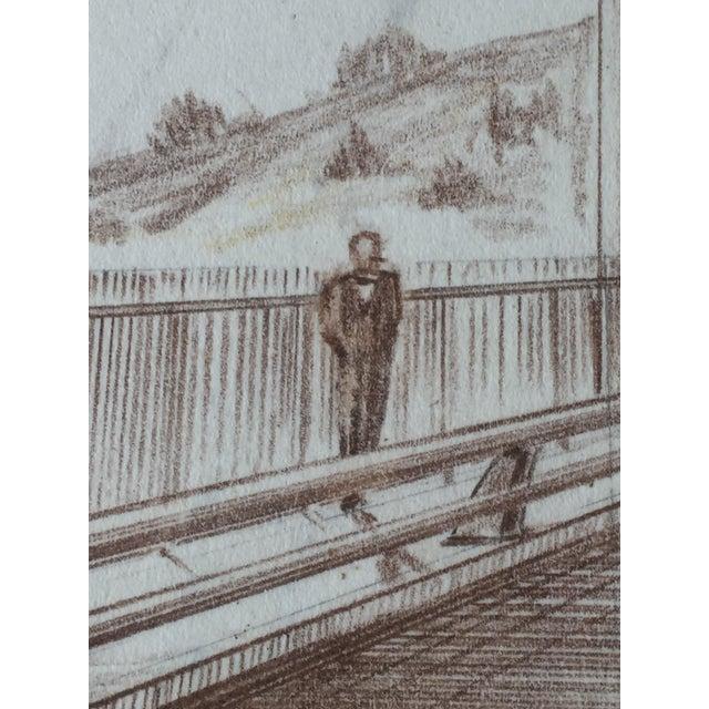 Mid-Century Golden Gate Bridge Architectural Sketch - Image 6 of 9