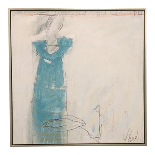 Blue Dress Abstract #1 Framed Giclée on Archival Canvas For Sale