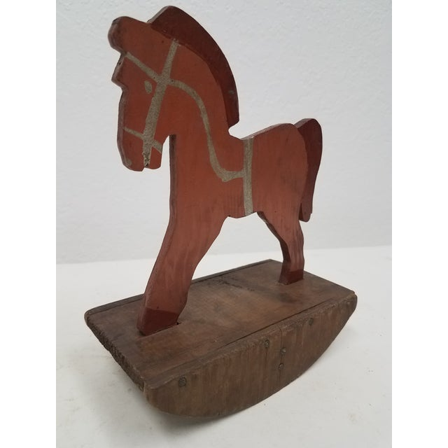 Antique English Wooden Toy Rocking Horse - Handmade We like antique toys that were obviously handmade for two reasons -...