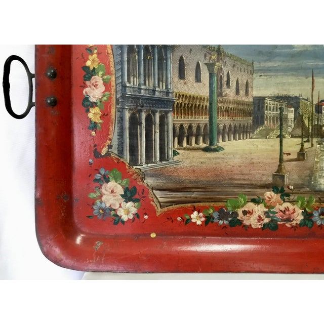 Blue 19th Century Tole Tray Featuring a Hand Painted Italian Scene For Sale - Image 8 of 13