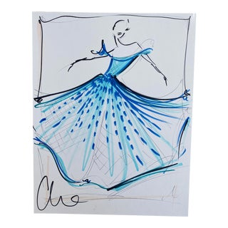"""Icy Blue Embellished Tulle Gown"" Original Christian Siriano Sketch"