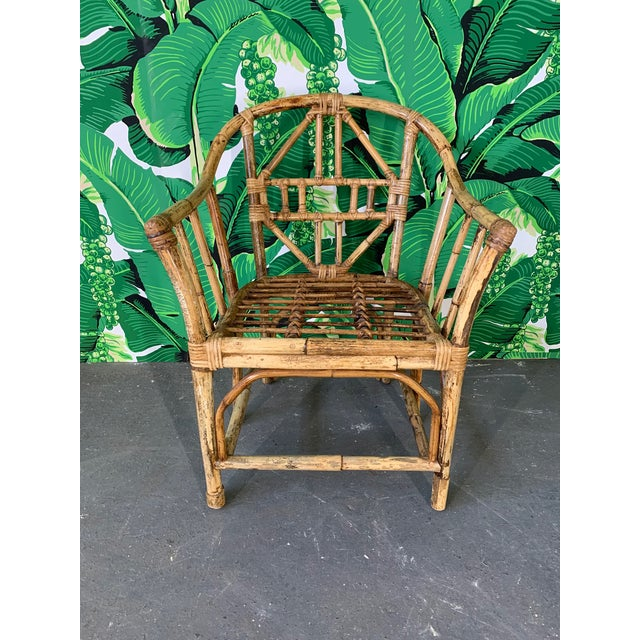 1970s Brighton Style Pavilion Rattan Dining Chairs - Set of 6 For Sale - Image 5 of 9