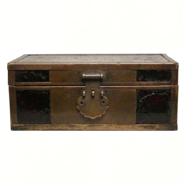 Late 19th Century Chinese Brass and Lacquered Wood Storage Box For Sale - Image 9 of 9