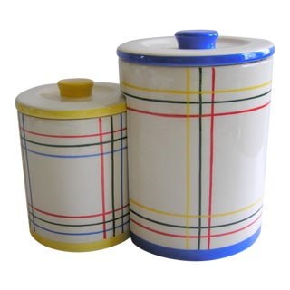 1980's Vintage Primary Color Geometric Nesting Ceramic Canisters - a Pair For Sale