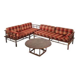 Old Hickory Style Sofa, Chaise & Coffee Table - 3 For Sale