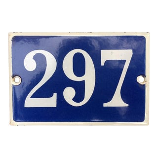 Old French Blue & White Street Number Sign For Sale