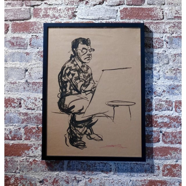"Emil Kosa Jr - Self-portrait - Original 1950s Ink on Paper Painting frame size 19 x 25"" paper size 17 x 24"" Biography Emil..."