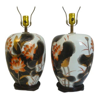 Chinoiserie Lotus Flower Imari Handpainted Ceramic Table Lamps - a Pair For Sale