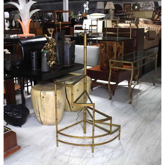 Very nice unusual spiral step shelves, gilt faux bamboo base, floor lamp. In style of Maison Bagues