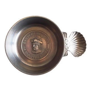 "Mid 20th Century Antique French ""Beuvez Toujours...Ne Mourrez Jamais"" Pewter Tastevin Porringer by Rabelais For Sale"