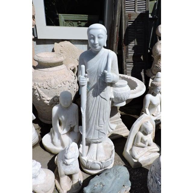 Solid White Alabaster Burmese Traveling Monk For Sale - Image 4 of 8