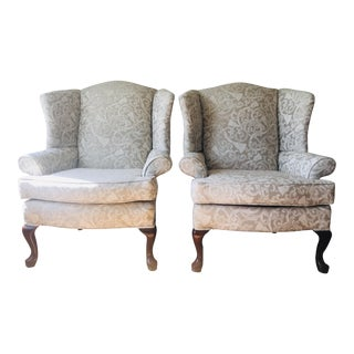Greige Damask Queen Anne Wingback Chairs - a Set For Sale